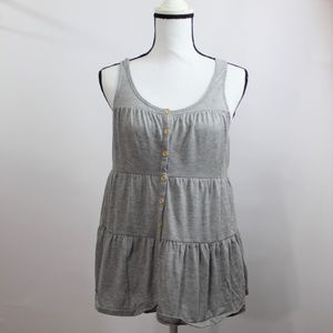 Free People Beach Gray Pleated Top Size Small